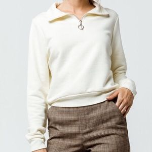 Half Zip Up Off White Women's Crop Sweatshirt